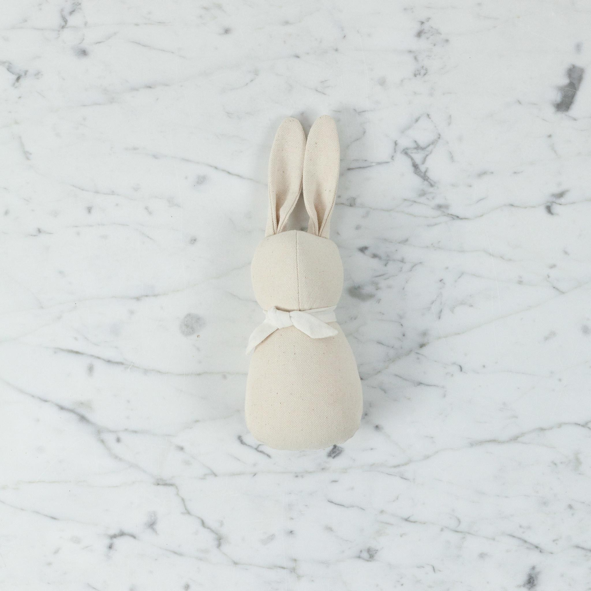 Polka Dot Club Handmade Tiny Rabbit Rattle - Natural Cotton