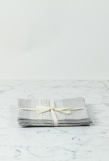 "Libeco Home Belgian Linen Napkin - Sisco Grey Stripe - 15"" - Set of 4"