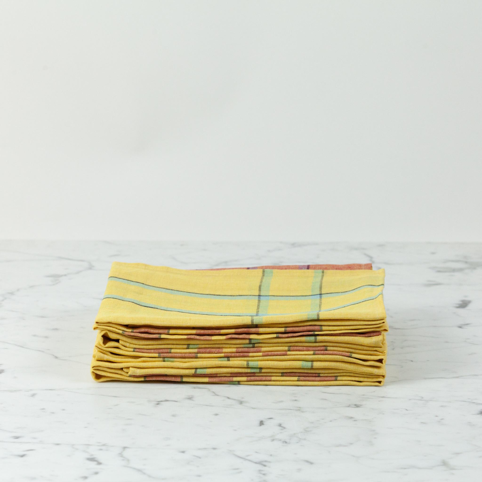 "Libeco Home Belgian Linen Tea Towel - Bonnie Brae Lemon Yellow - 27"""
