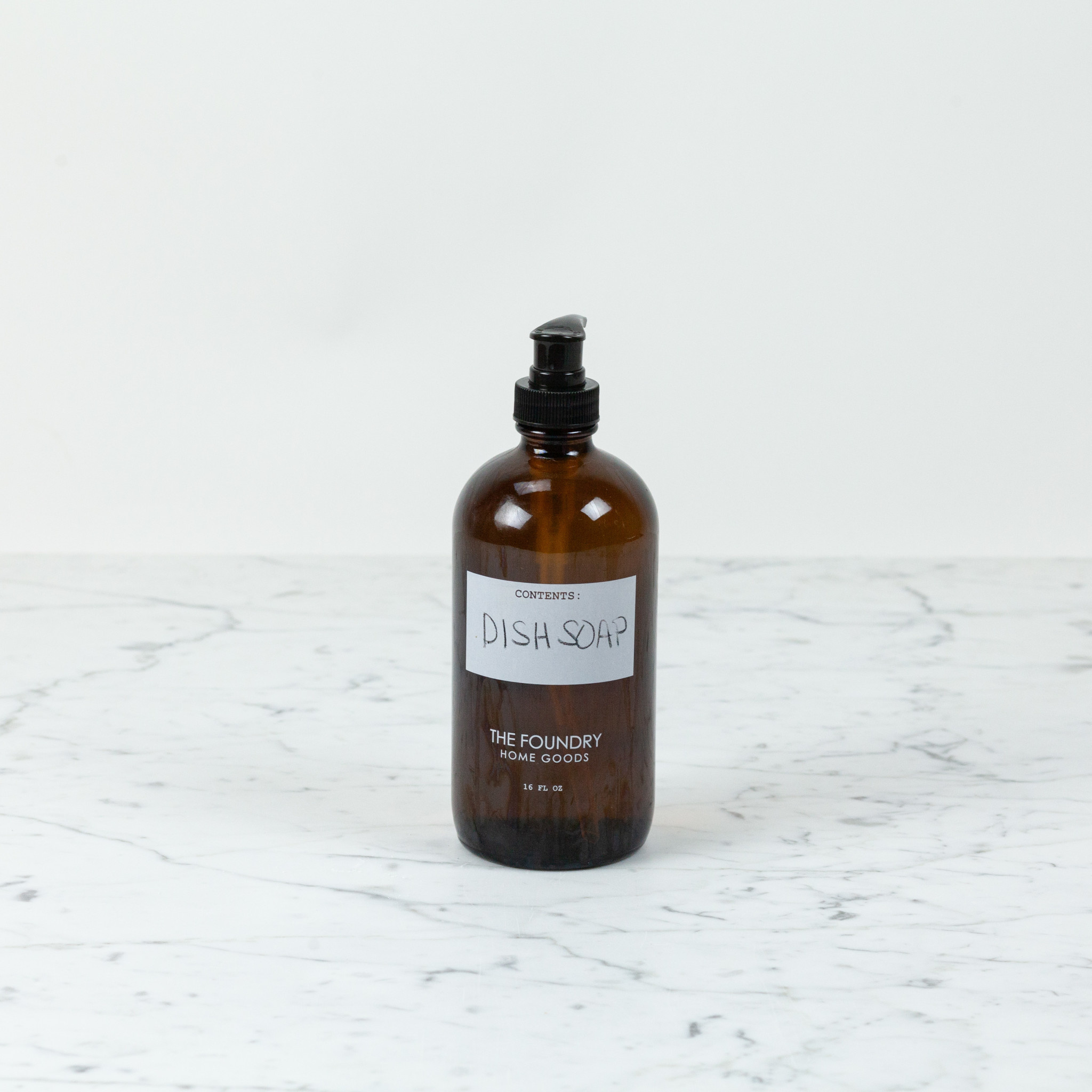 The Foundry Home Goods The Foundry Amber Glass Bottle 16oz + Dish Soap - Mint + Lemongrass