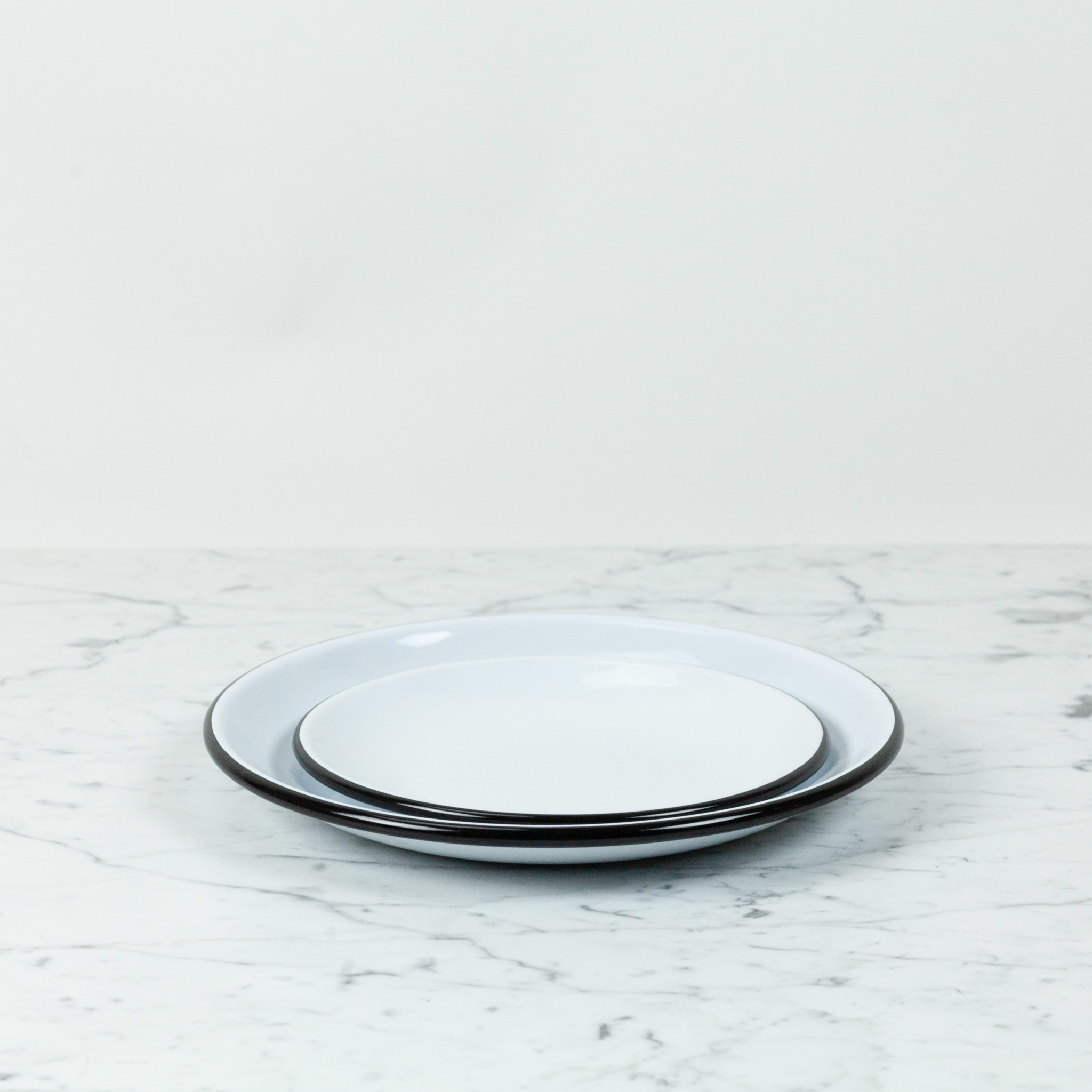 Black + White Enamel Smooth Coupe Style Dinner Plate