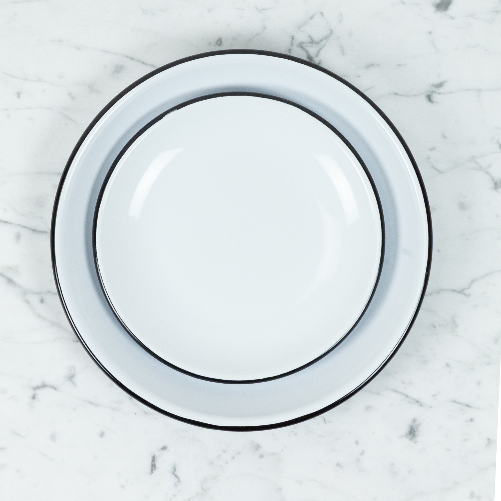 Black + White Enamel Smooth Coupe Style Salad Plate