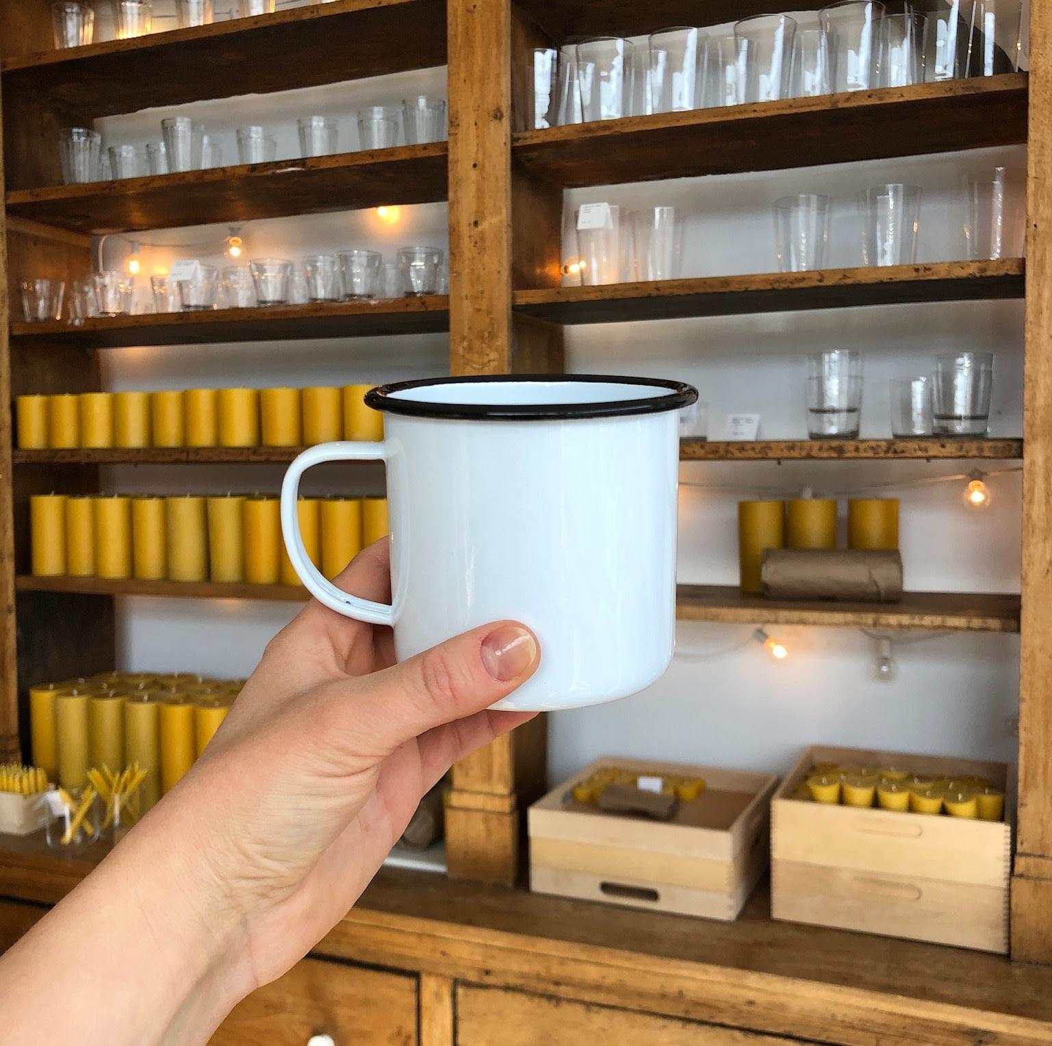 Black + White Enamel Large Mug - 16 oz