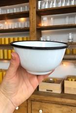 "Black + White Enamel Bowl - Small - 16 oz - 5.5"""