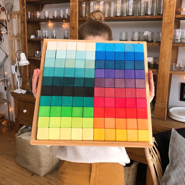 """Grimm's Toys Mosaic Block Set - Large - 100 Piece - 17 1/2"""" Square"""