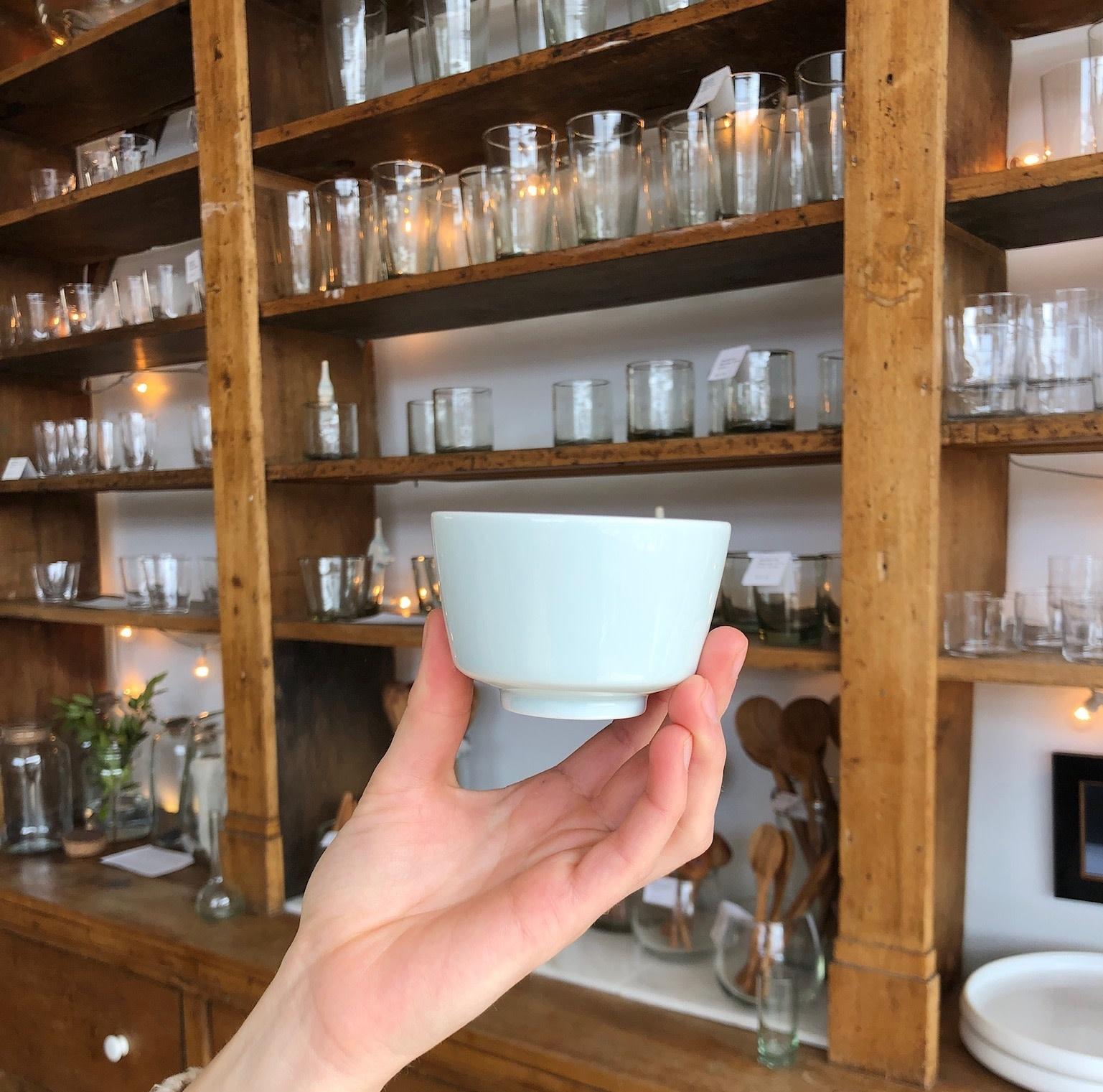 """MIZU MIZU PREORDER mizu-mizu Porcelain Cup with Foot - Bluish White - 3.25"""""""