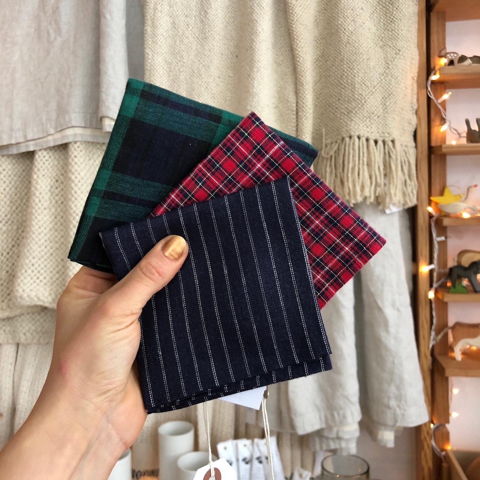 Linen Handkerchief - Lisa Bold Red Plaid