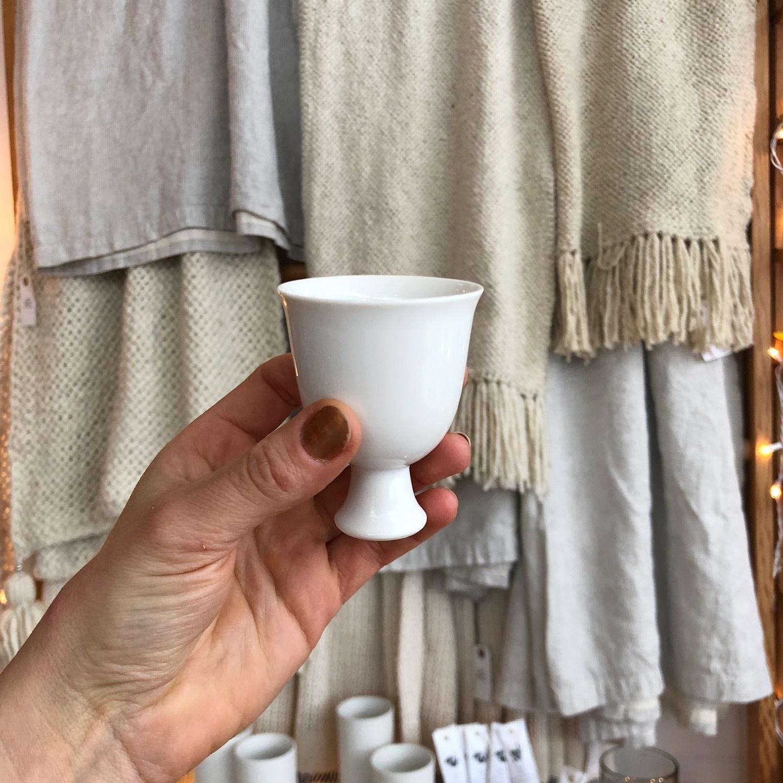 "Jicon Porcelain Pedestal Vessel - Tulip Goblet - 2.75"""