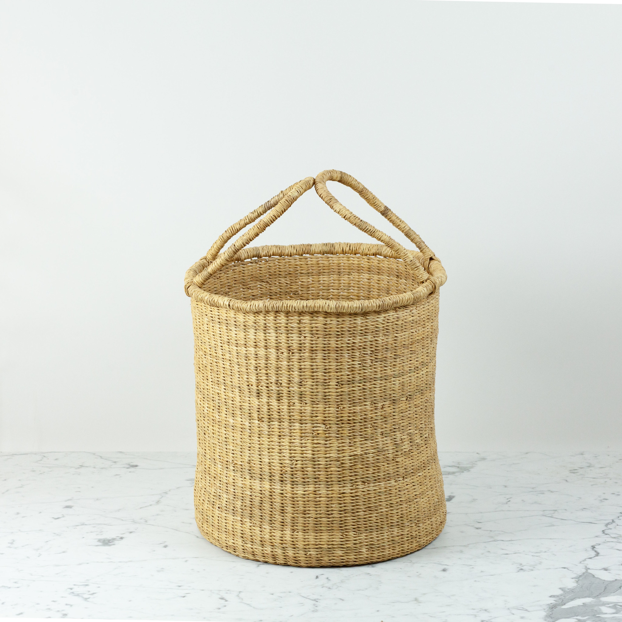 """Grass Hamper Basket with Double Handles - Small - 16"""""""