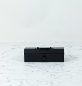 """Japanese Steel Domed Top Tool Box with Handle - Black - 8"""""""