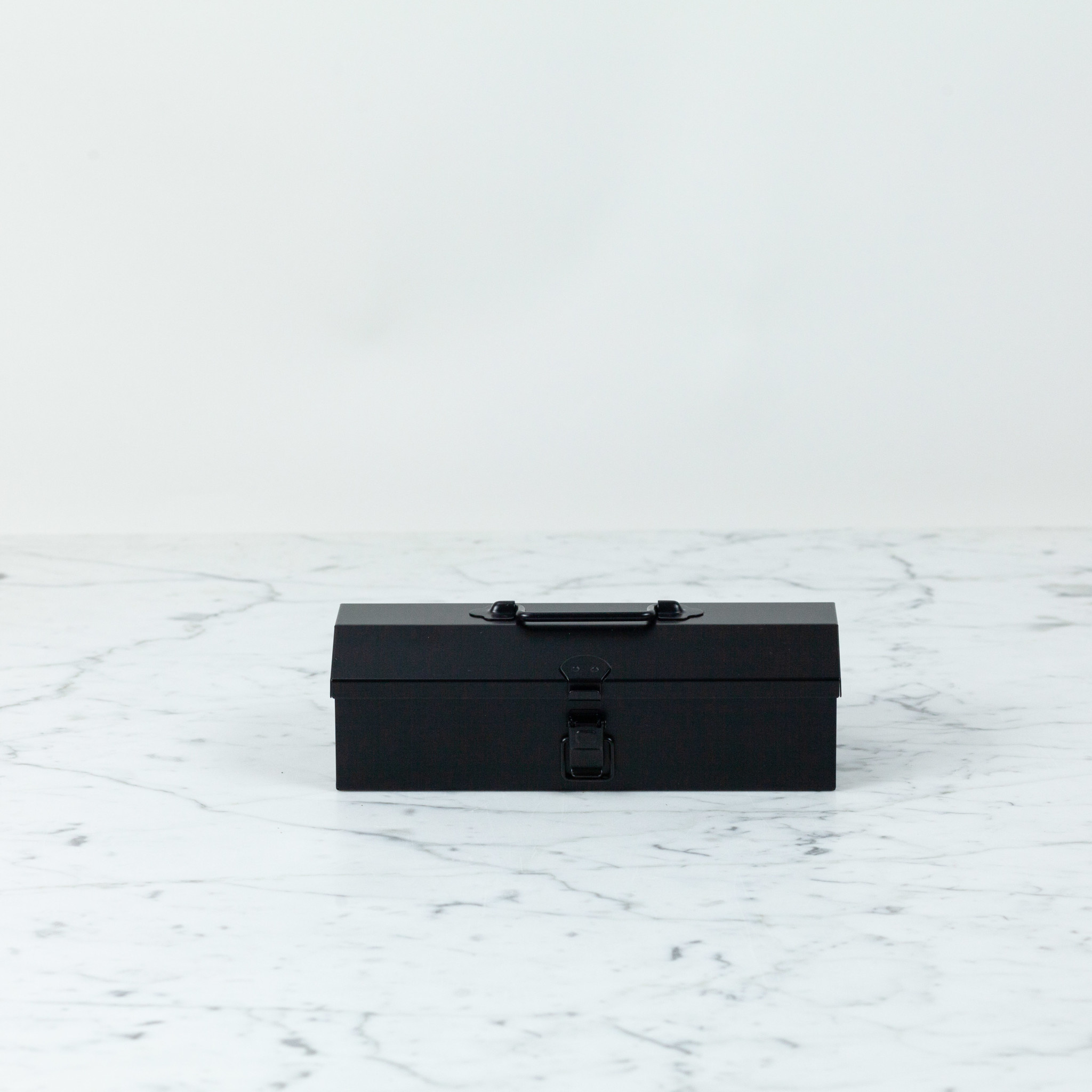 """Petite Japanese Steel Tool Box with Handle and Latch - Black - 8"""""""