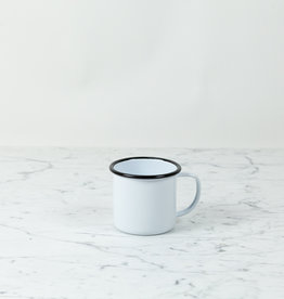 Black + White Enamel Large Mug - 12 oz