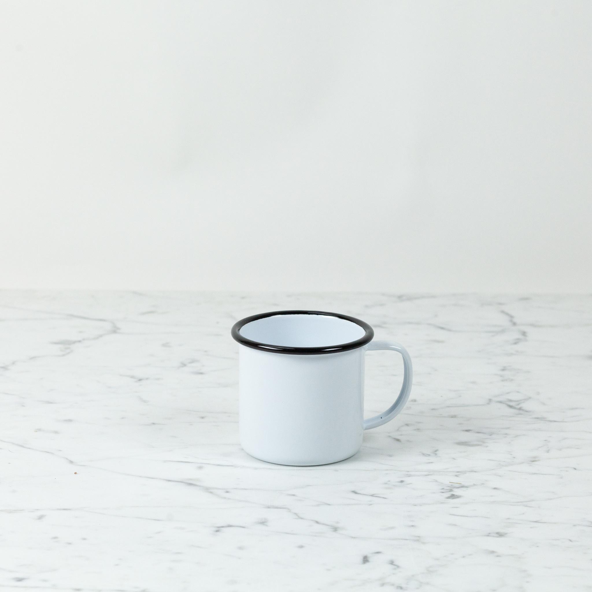 Black + White Enamel Large Mug - 12 oz