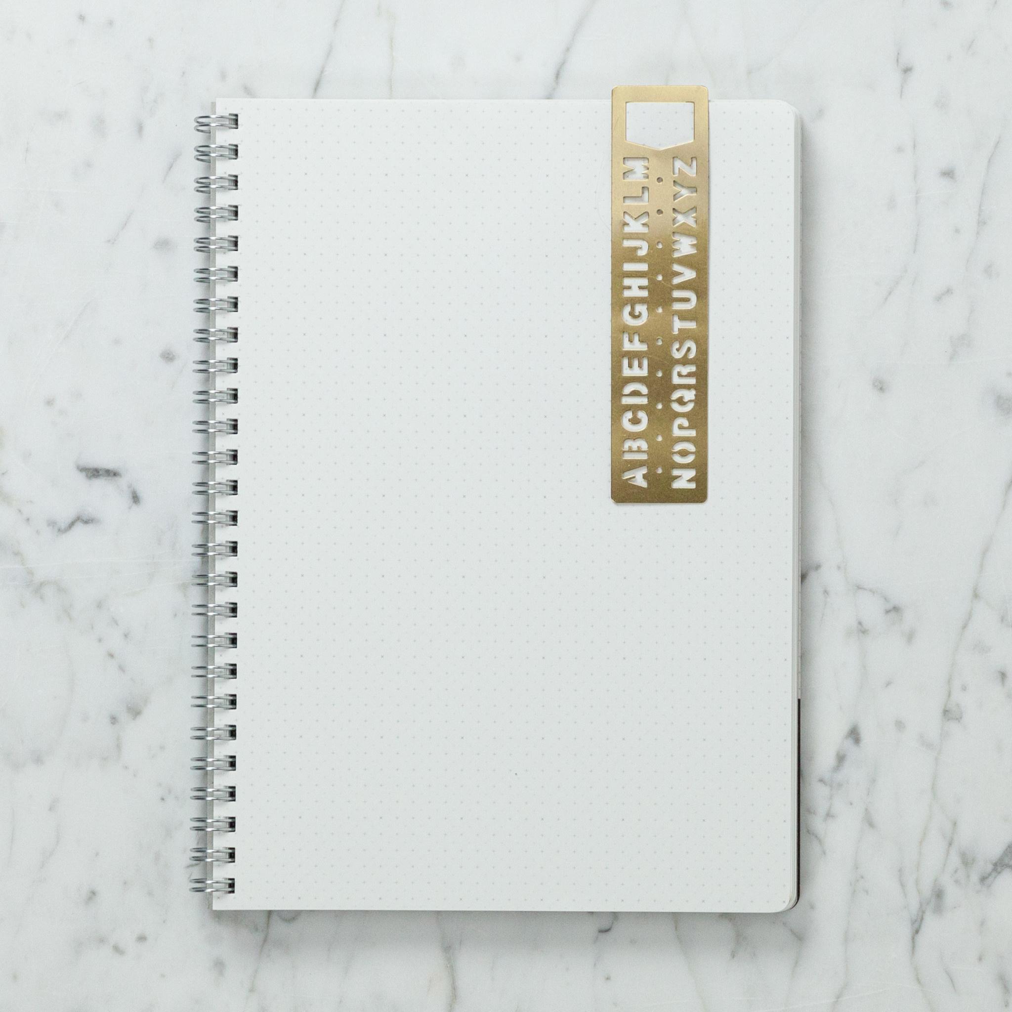 Brass Template Bookmark - Alphabet