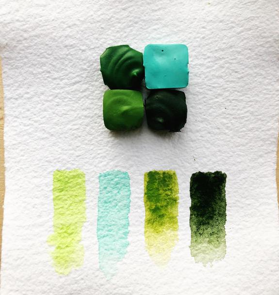 Beam Paints Natural Pigment Handmade Watercolor Paint - Healthy Forests Palette - 4 Colors