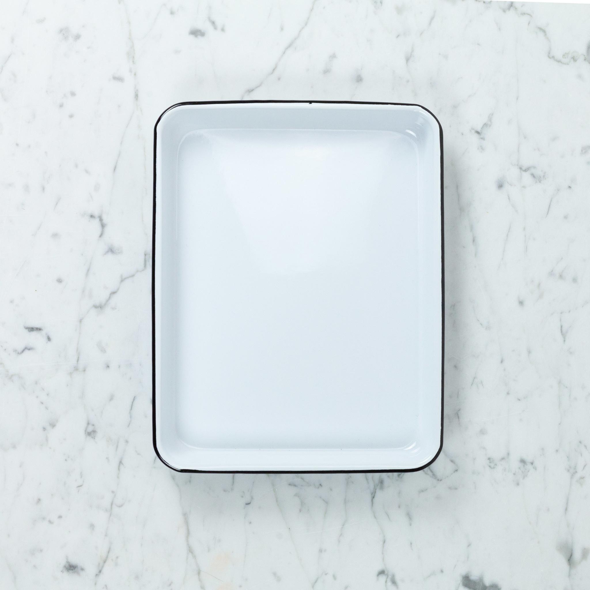 "Black + White Enamel Baking or Serving Tray - 11 x 9"""