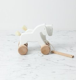 Wooden Pull Along Galloping Horses - White
