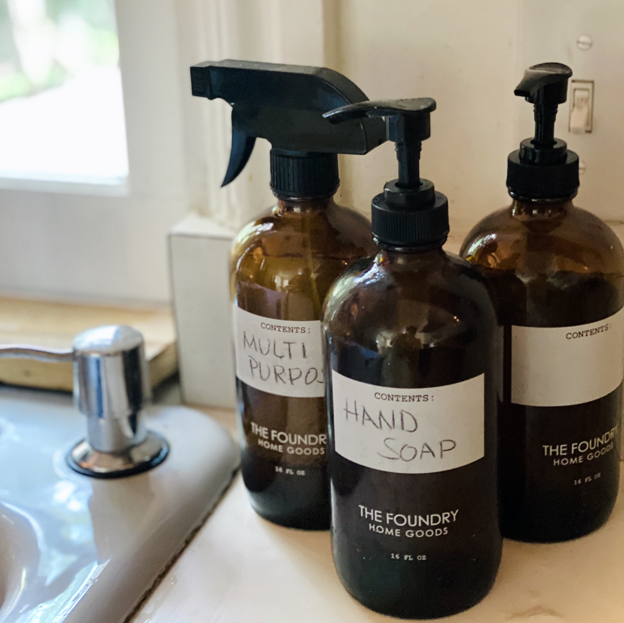 The Foundry Home Goods The Foundry Amber Glass Bottle 16oz + All Purpose Spray - Tea Tree