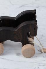 Wooden Pull Along Galloping Horses - Dark Natural Wood