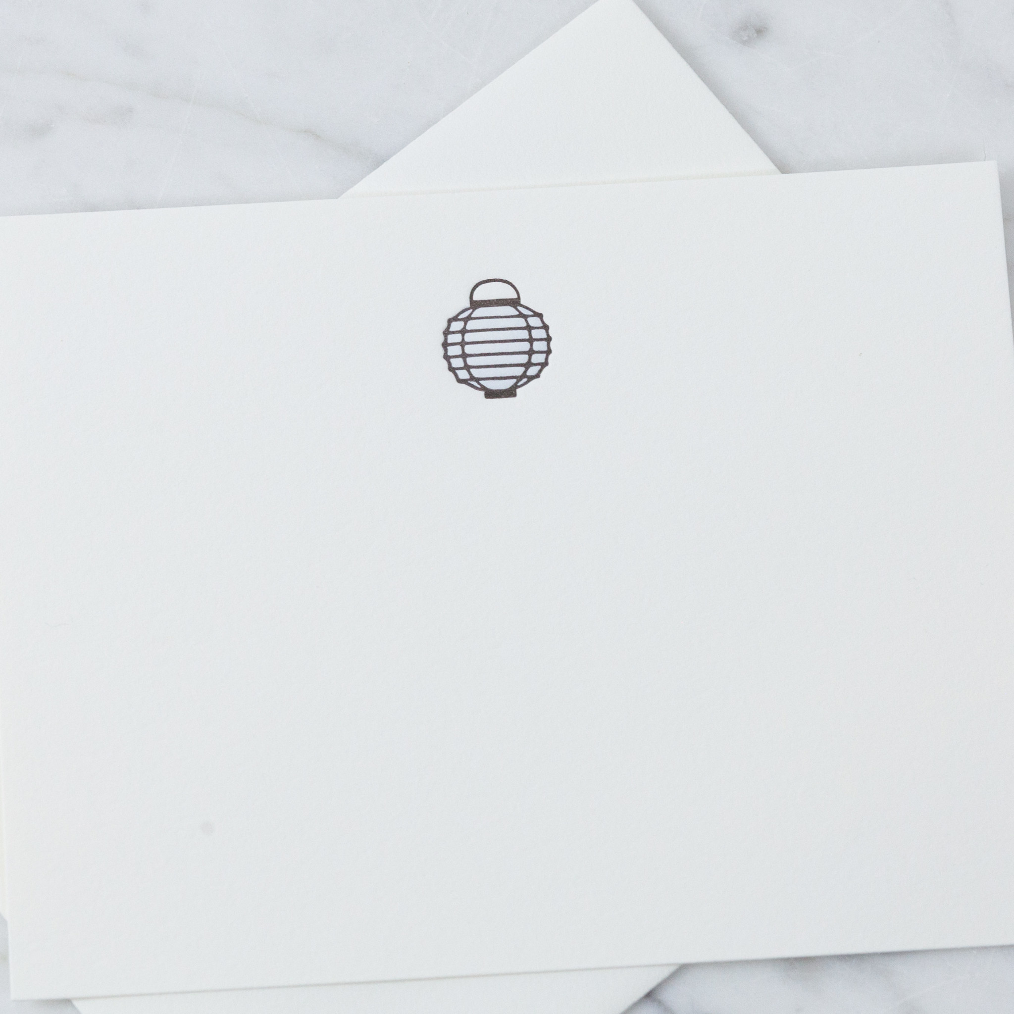 Letterpress Card and Envelope - Blue Lantern