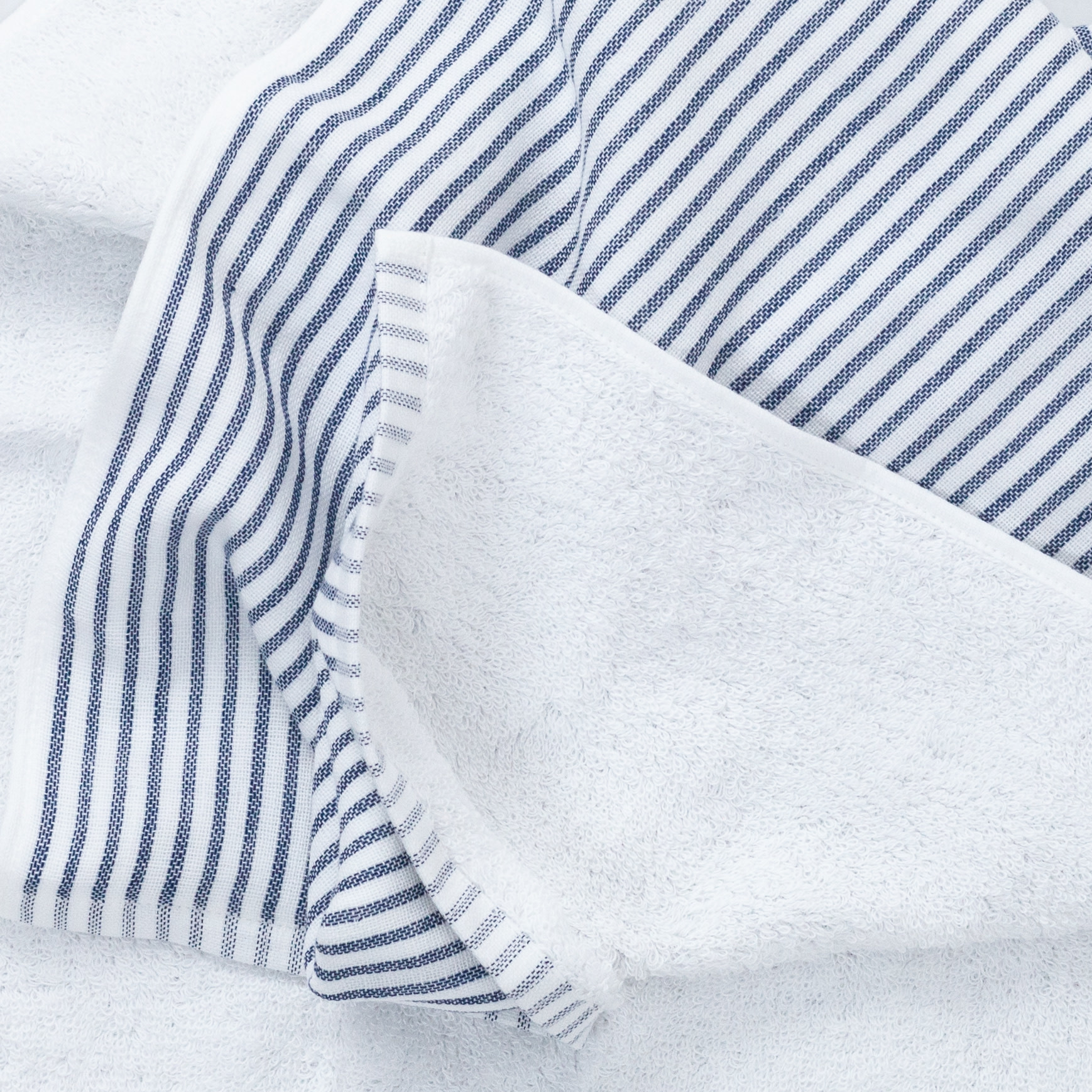Shirt Stripe Compact Bath Towel - Navy Breton Stripe - 20 x 47""