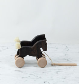 Wooden Pull Along Galloping Horses - Dark Natural Wood