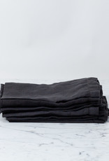 Hem Stitch Linen Napkins - Set of 4 - Earth Black