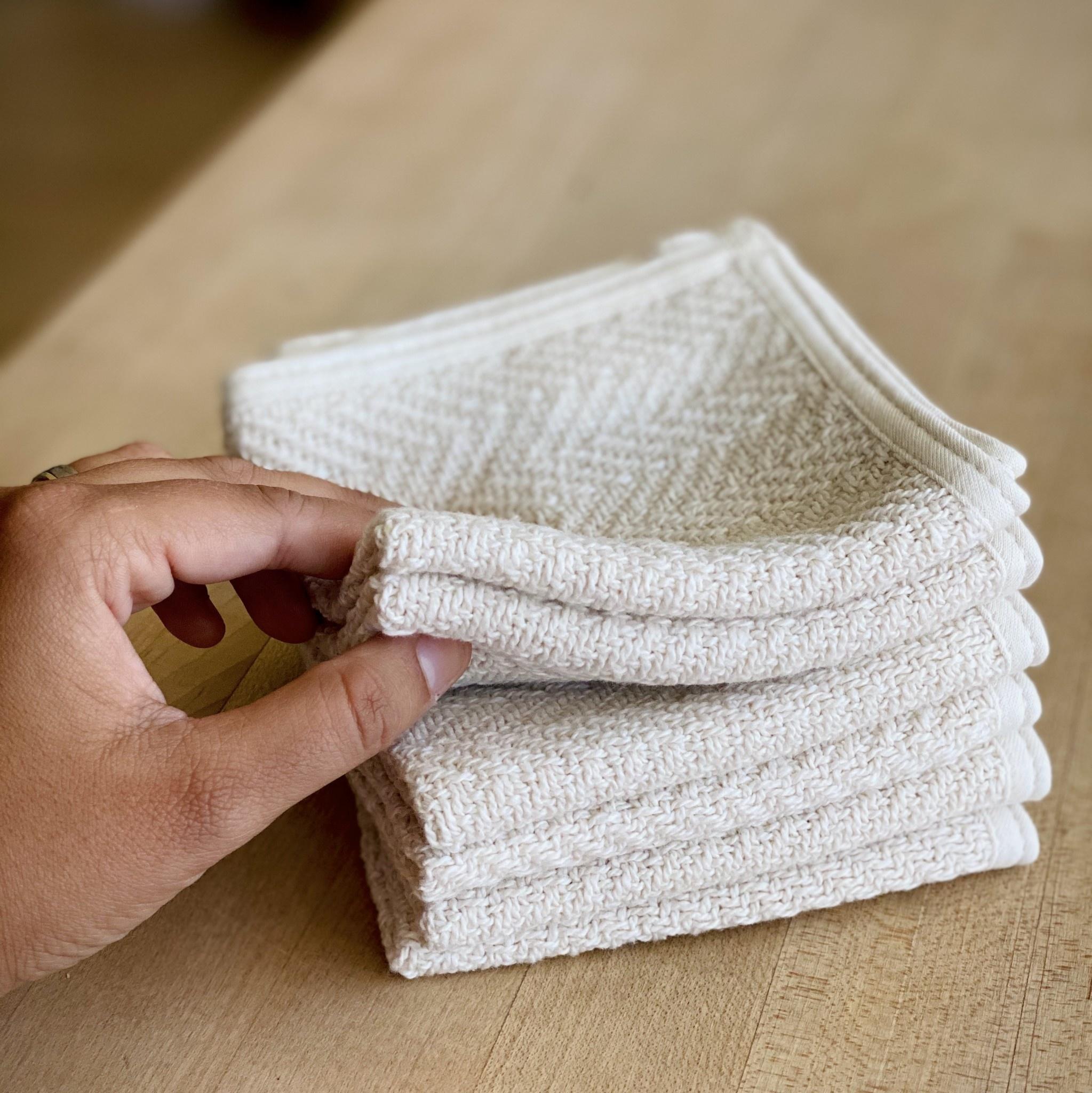 Herringbone Cotton Washcloth - Cream