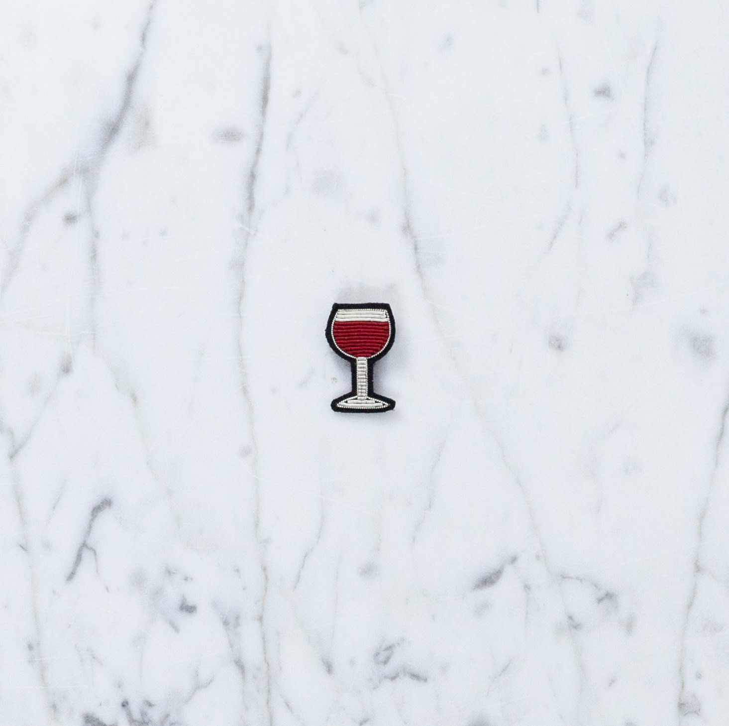 Hand Embroidered Macon & Lesquoy Pin - Glass of Red Wine