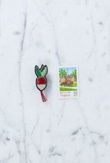 Hand Embroidered Macon & Lesquoy Pin: French Breakfast Radish