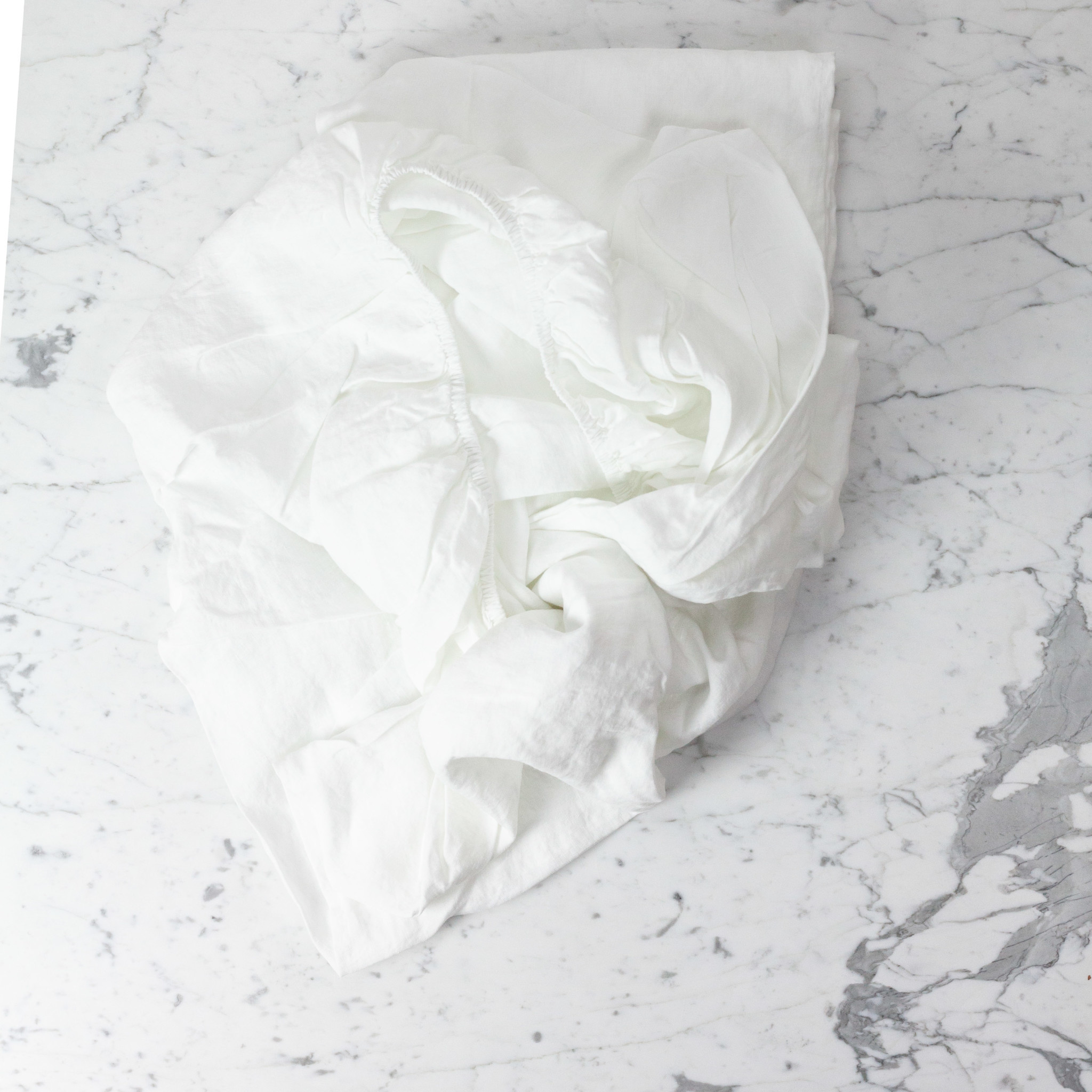Linen Fitted Sheet - King - White