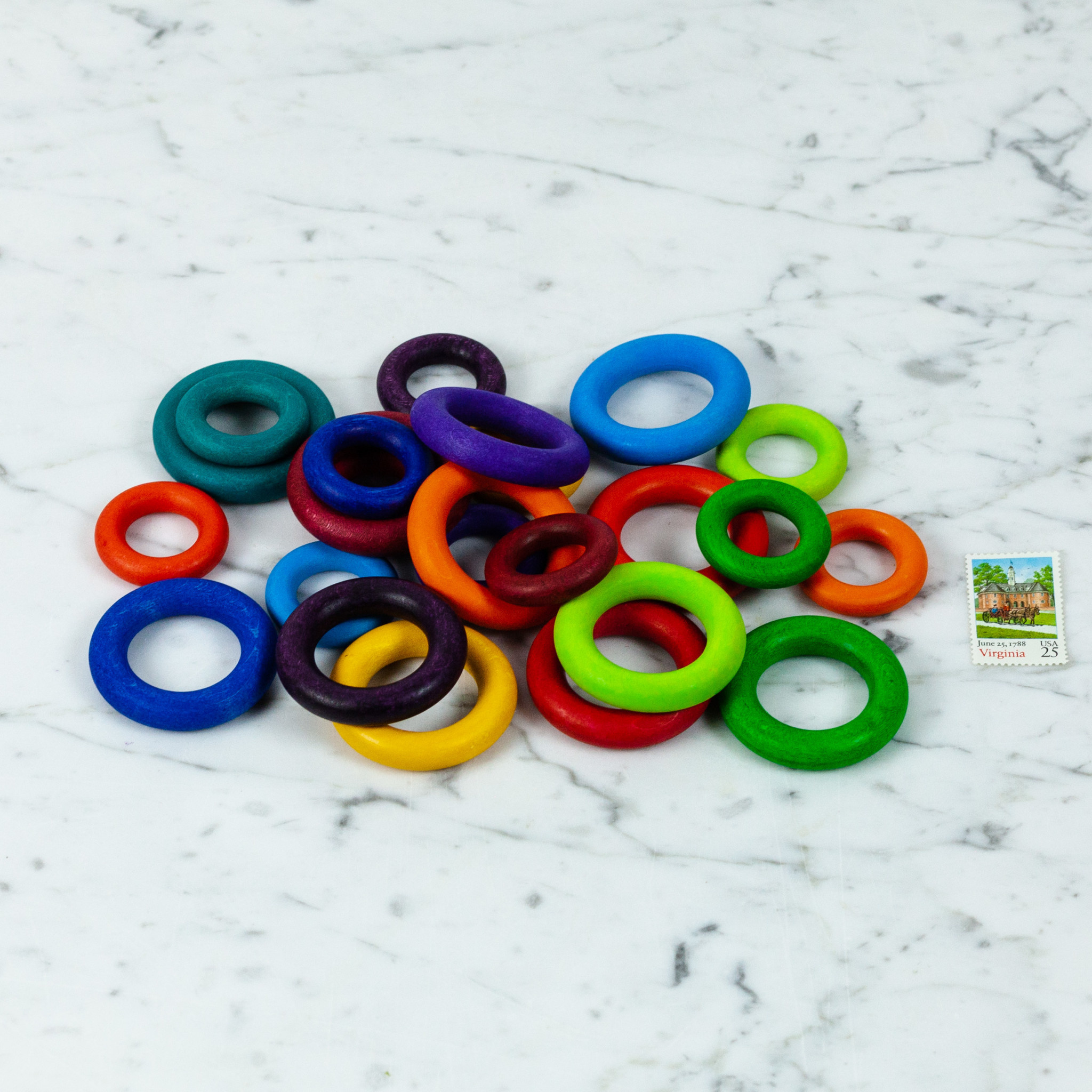 Grimm's Toys Wooden Rainbow Building Ring Set