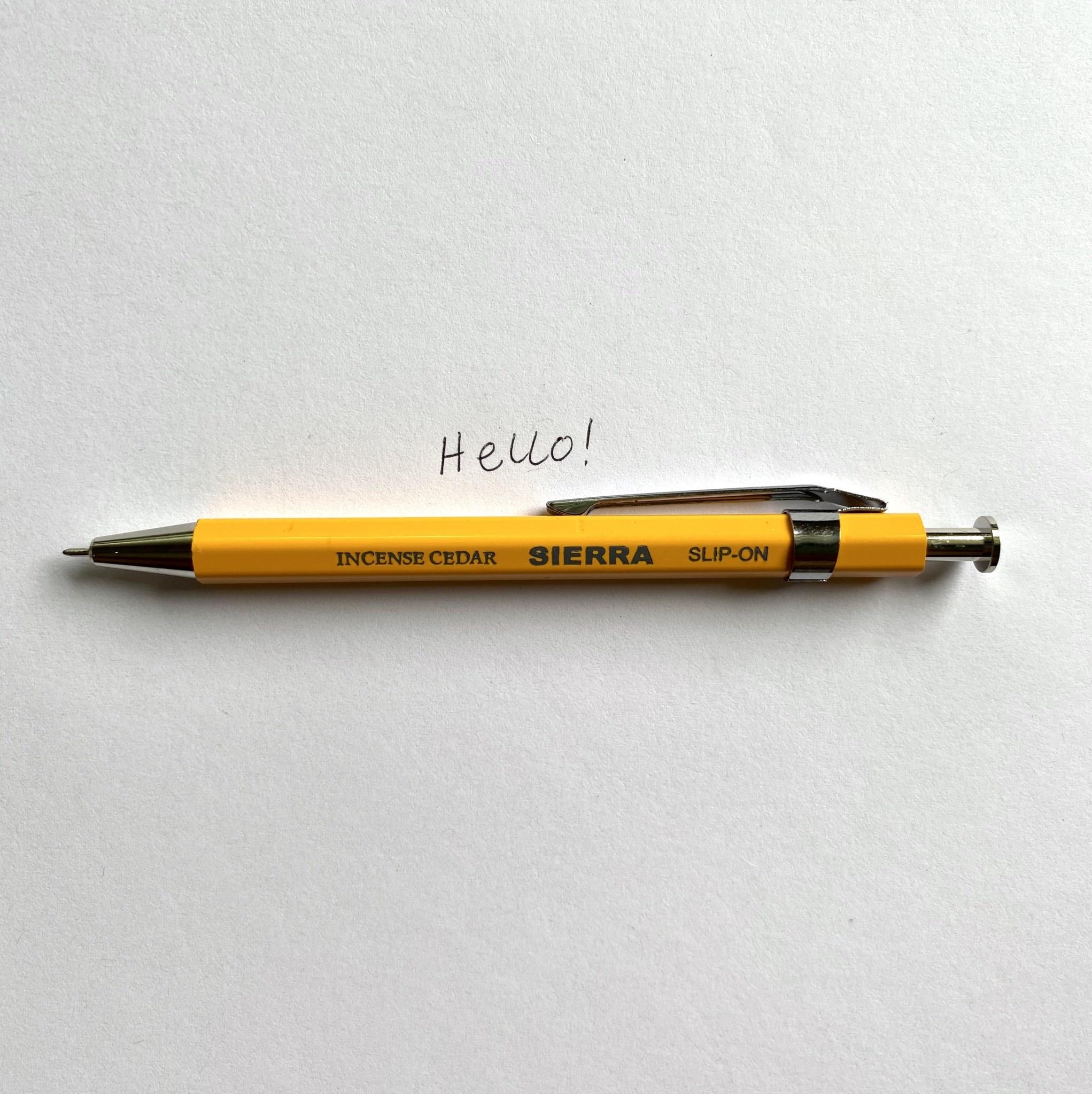 Sierra Wooden Needle Point Pen - Short - Yellow