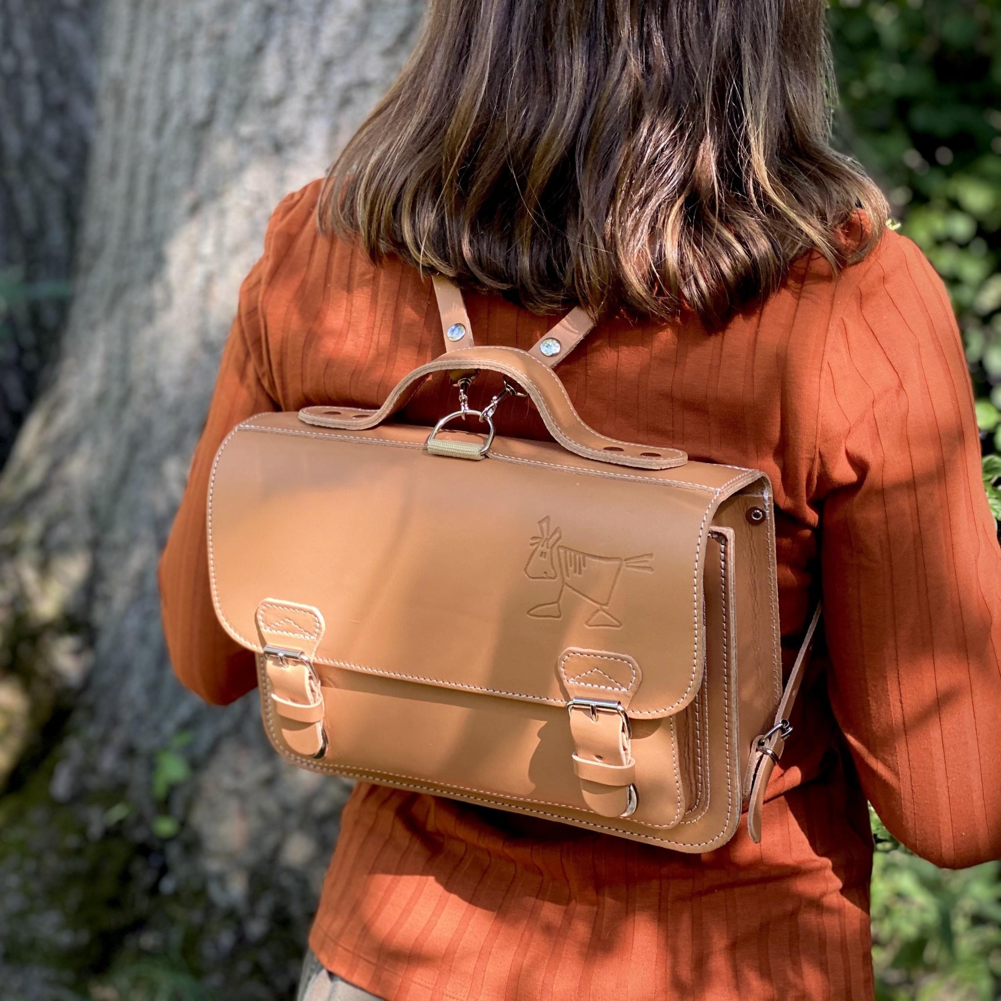 Ruitertassen Natural Leather Children's School Backpack with Front Pocket