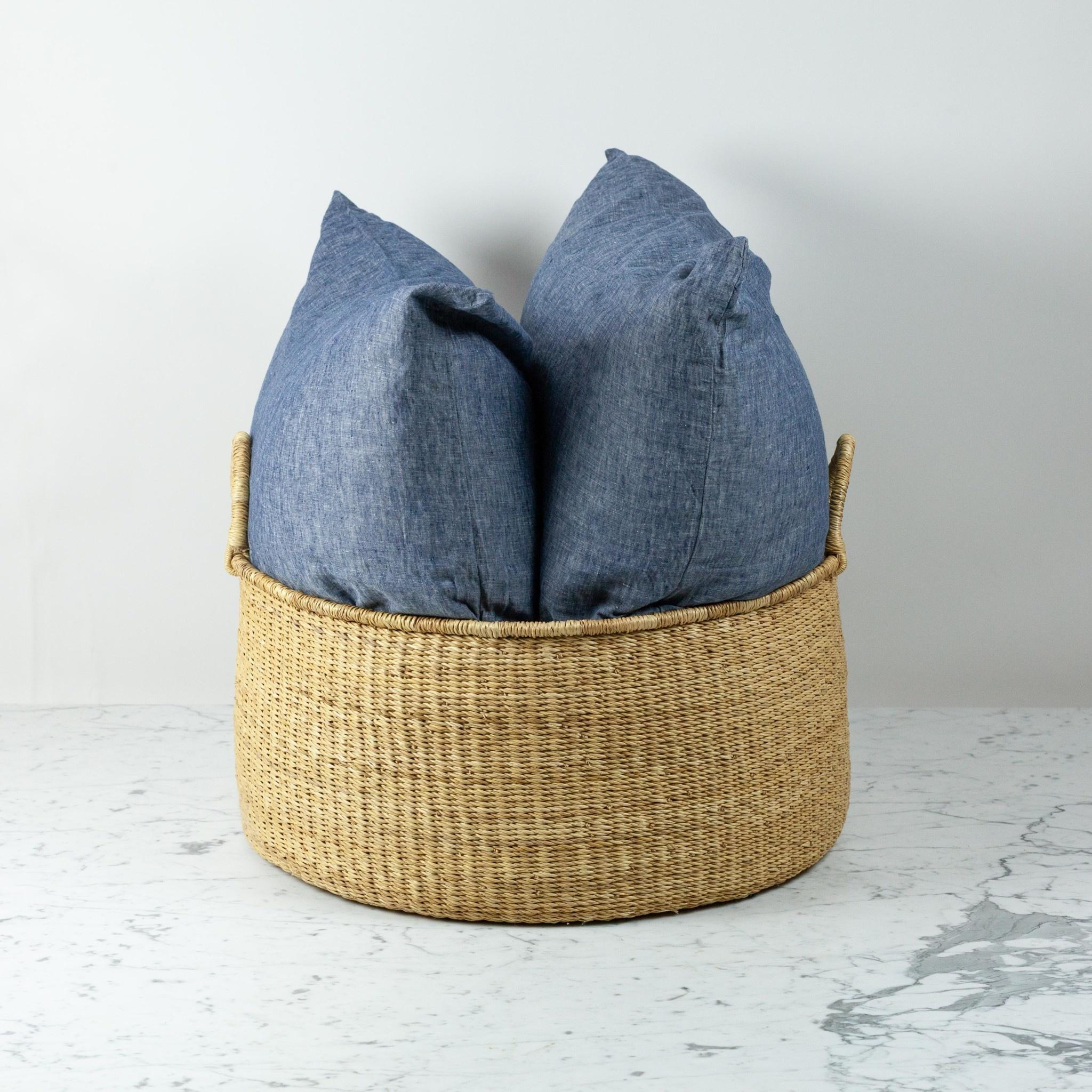 Natural Woven Grass Floor Basket - Large