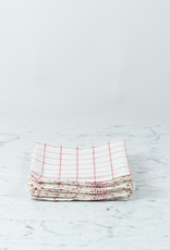 """Red Checked Linen Kitchen Towel - 20"""" x 28"""""""