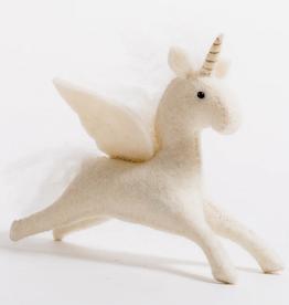 Hand Felted Enchanted Unicorn Ornament - White