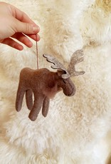 Hand Felted Wise Brown Moose Ornament