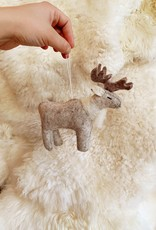 Hand Felted Majestic Caribou Ornament - Grey