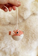 Hand Felted Chubby Puffer Fish Ornament  - Pink