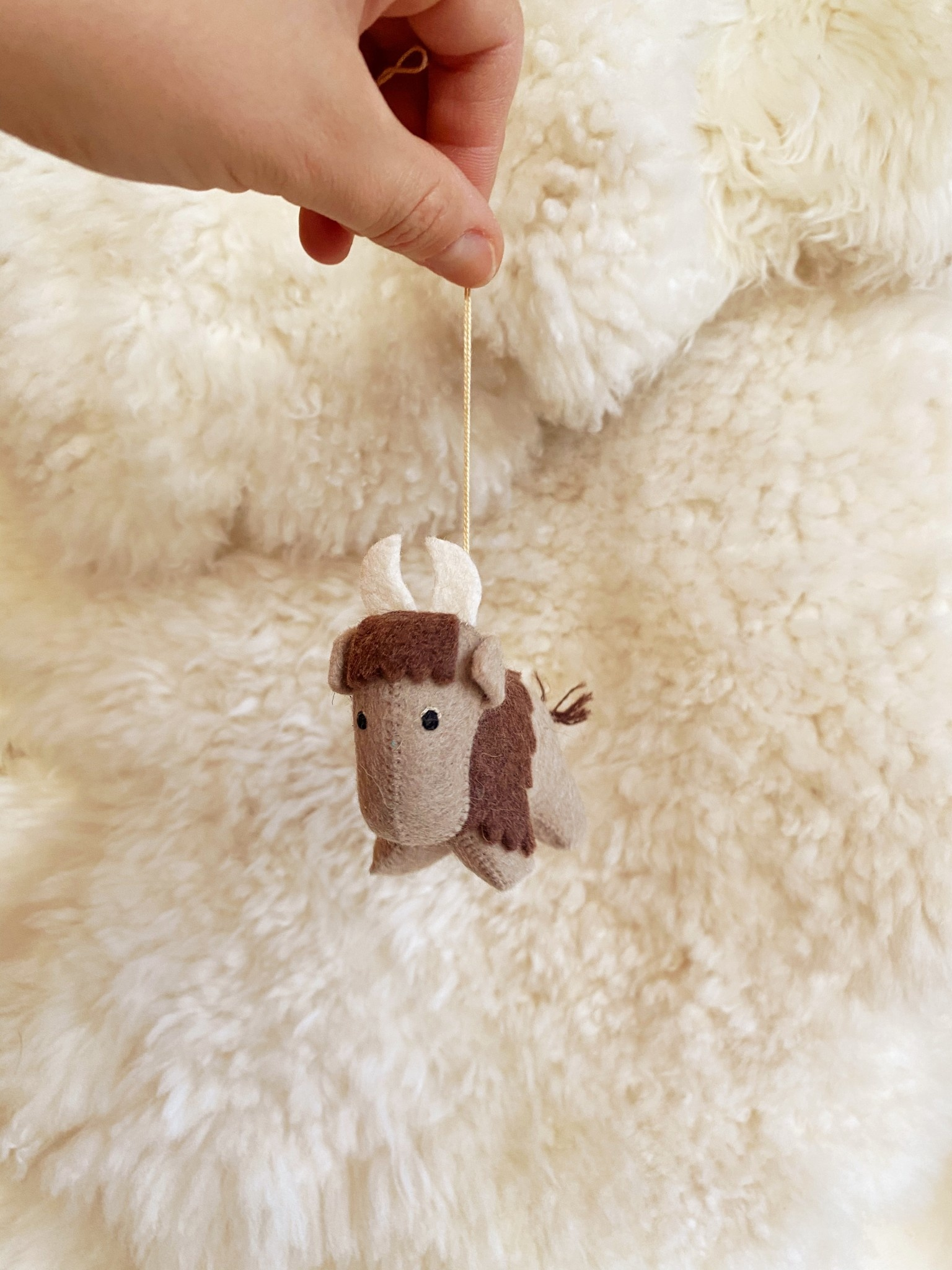 Hand Felted Yak Ornament