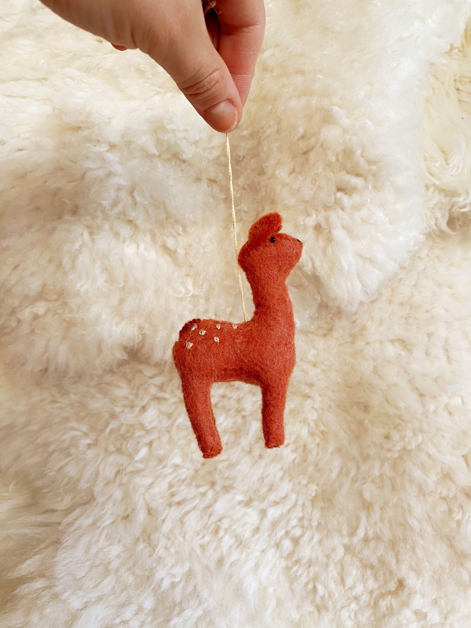 Hand Felted Gentle Spotted Deer Fawn Ornament - Orange