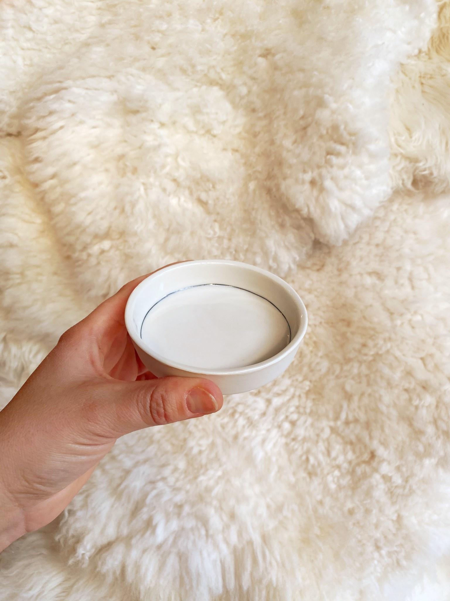 "Nicole Aquillano Nicole Aquillano Porcelain Simple Line Tiny Round Dish - Low - 3.5"""