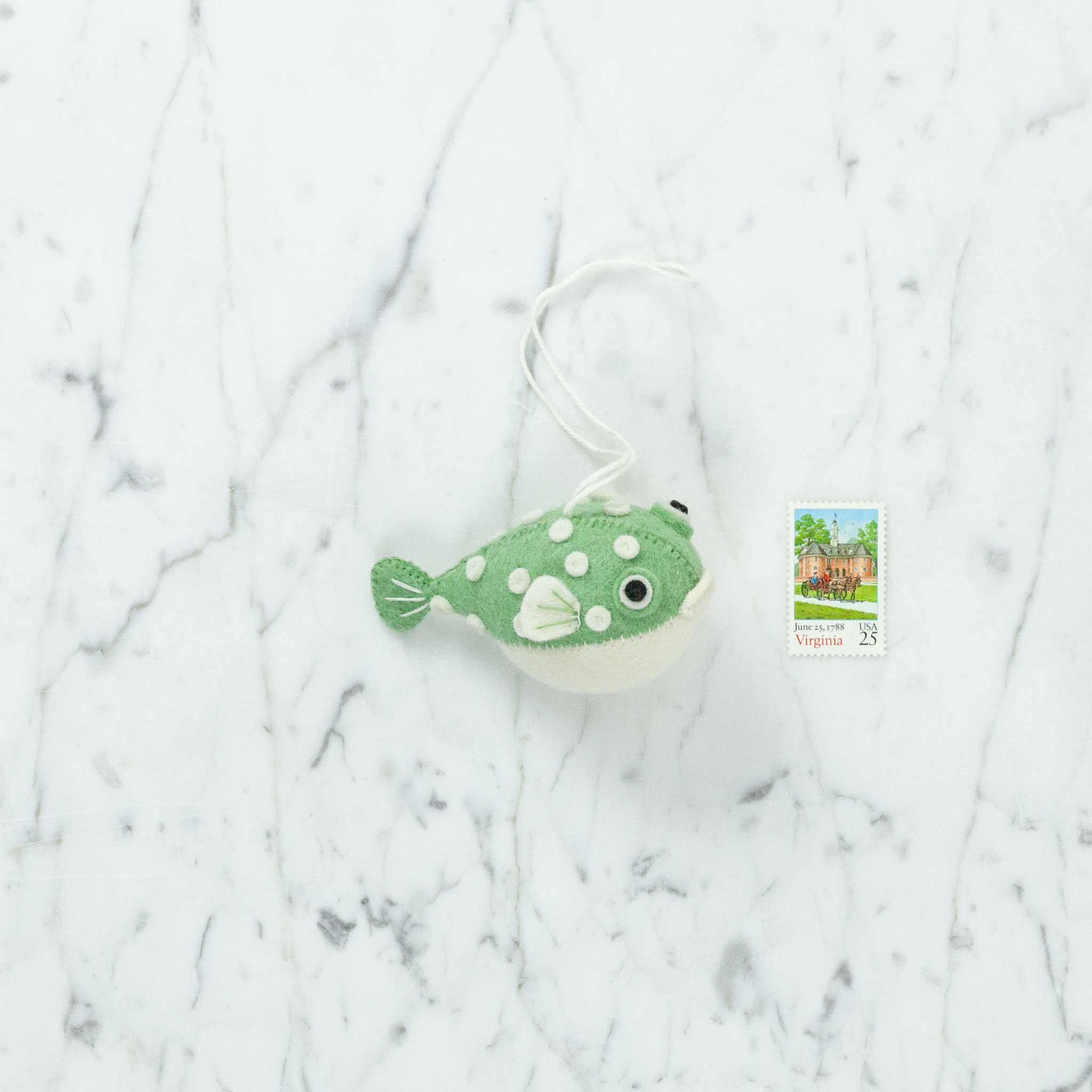 Craftspring Hand Felted Chubby Puffer Fish Ornament - Green