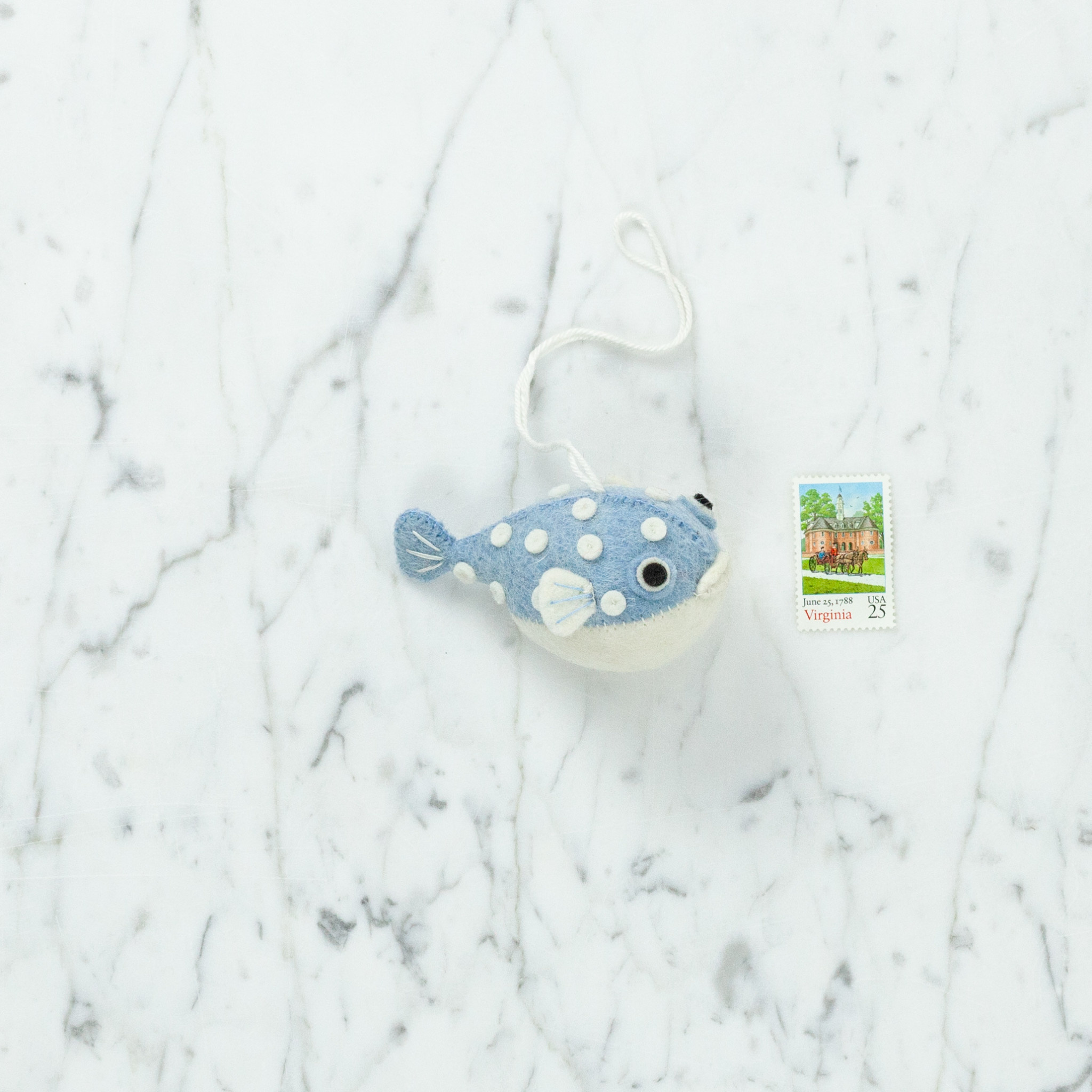 Hand Felted Chubby Puffer Fish Ornament - Blue