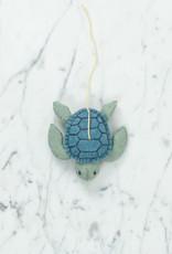 Hand Felted Moon Tide Sea Turtle Ornament - Sky Blue