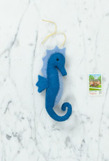 Hand Felted Seahorse Ornament - Blue