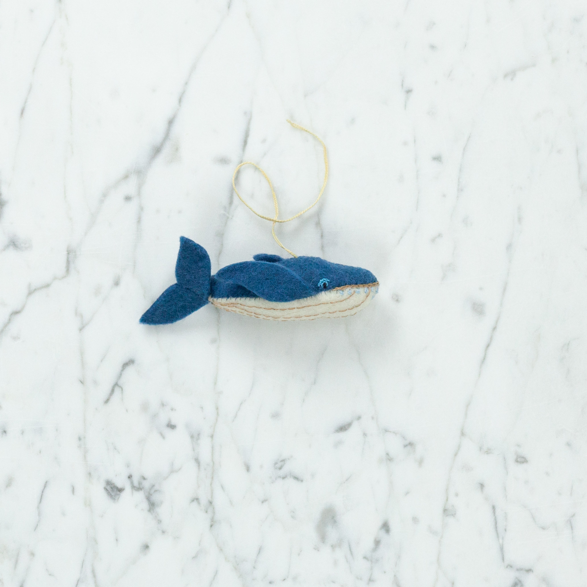 Hand Felted Little Hump Back Whale Ornament - Teal