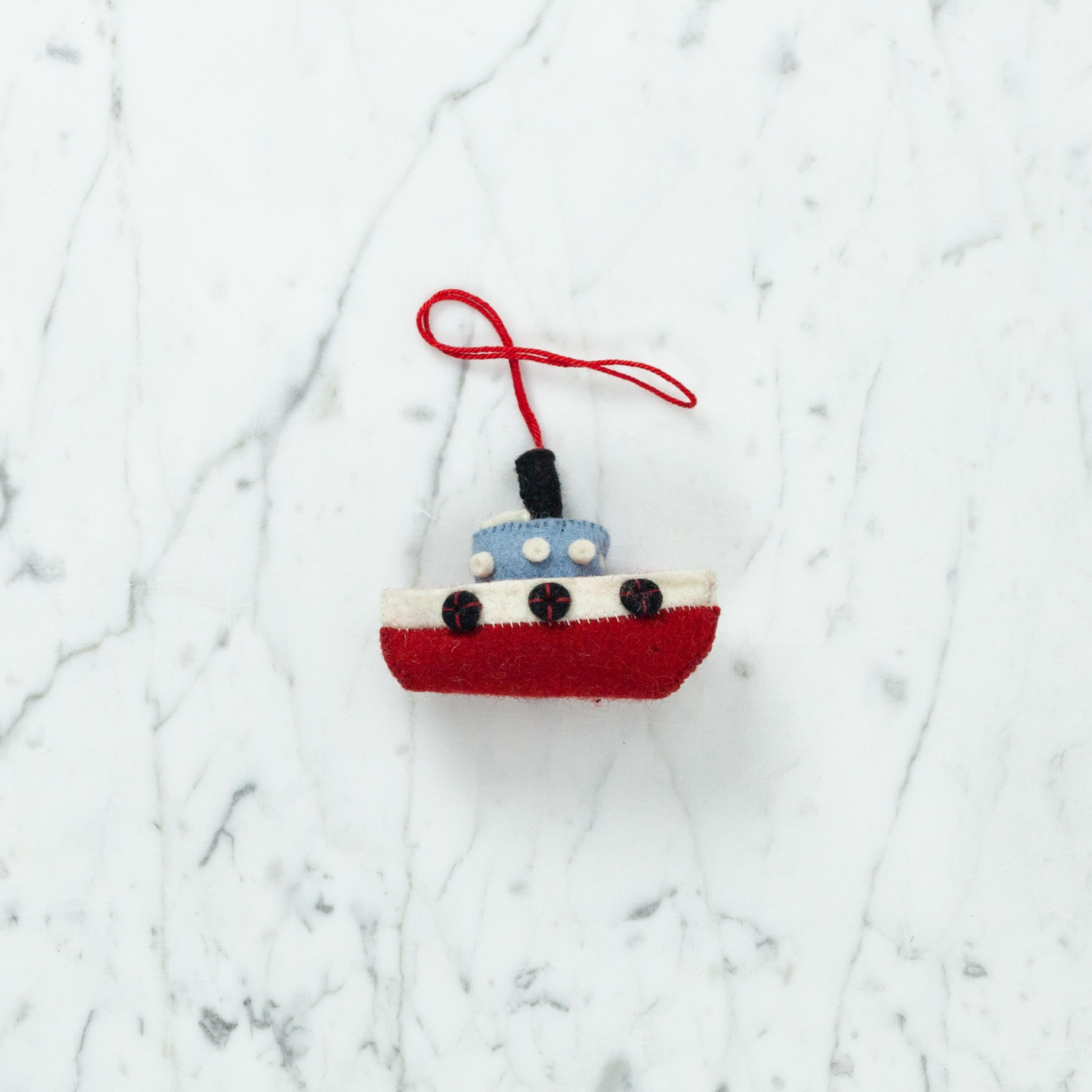 Hand Felted Toot Toot Tugboat Ornament