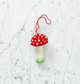 Hand Felted Mushroom Ornament - Red - Tall